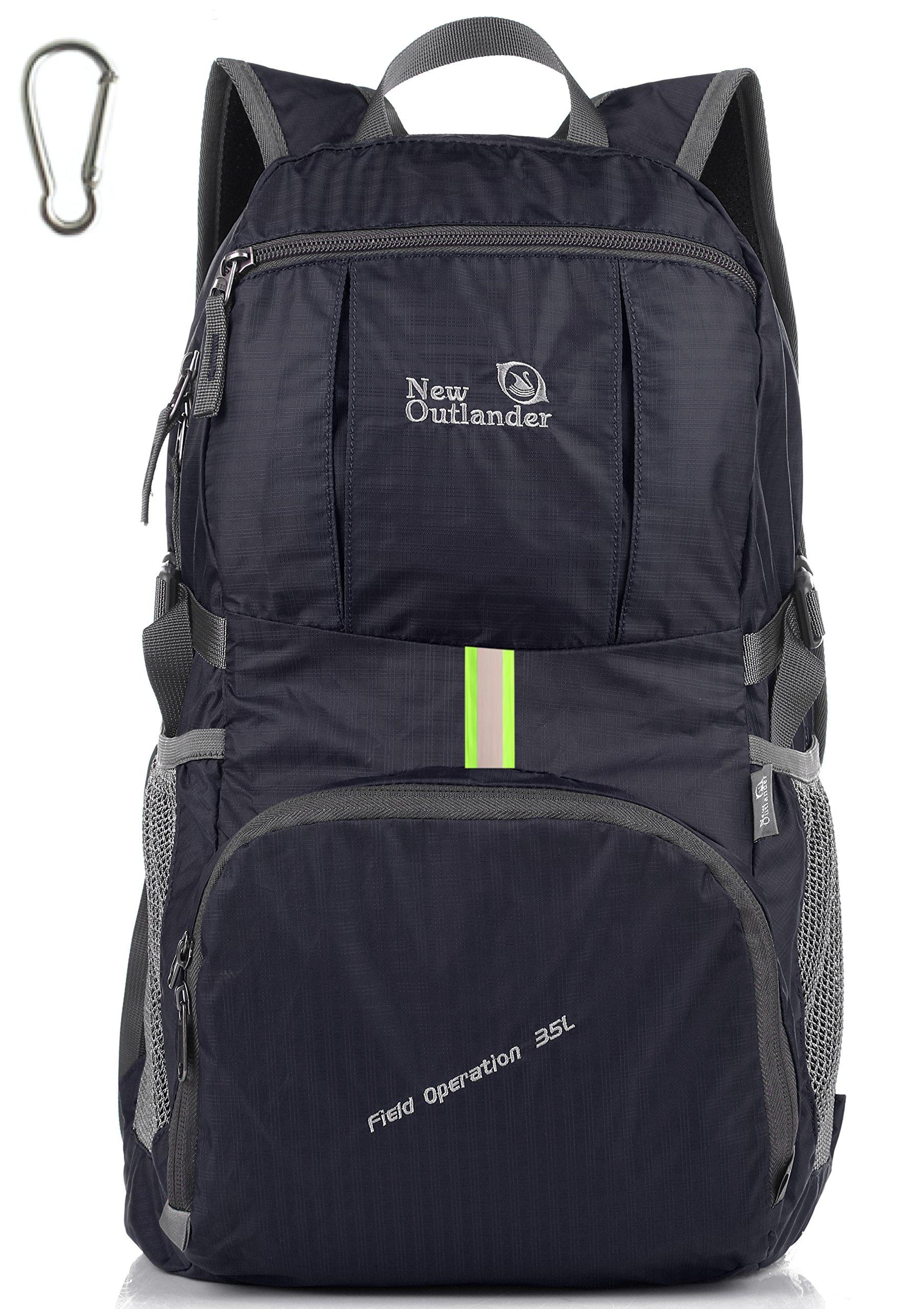 Outlander Packable Lightweight Travel Hiking Backpack Daypack (New Black) by Outlander