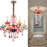 Colorful Chandelier Crystal 6 Lights Pendant Ceiling Lighting Fixture for Girl,Children's Room,Dinning Room Entry…