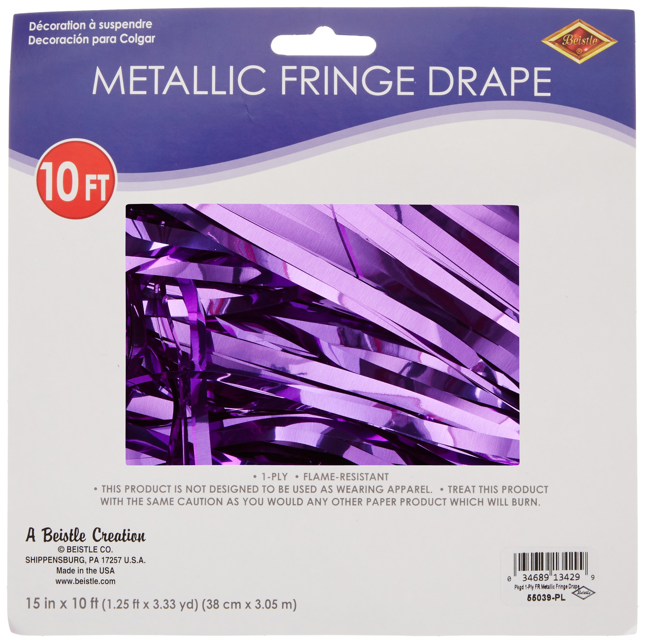 Pkgd 1-Ply FR Metallic Fringe Drape (purple) Party Accessory  (1 count) (1/Pkg)