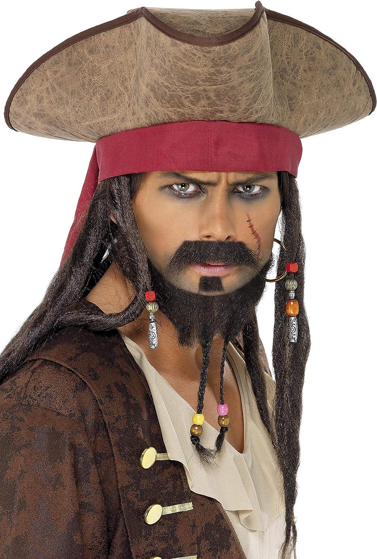 Smiffys-33626 Sombrero de Pirata, con Pelo Rasta, Color marrón ...