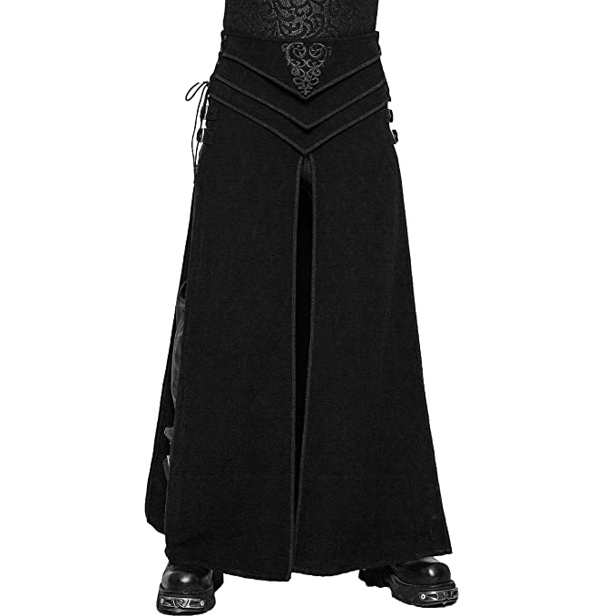 Men's Steampunk Clothing, Costumes, Fashion Punk Rave Black Gothic Retro Jacquard Long Loose Cosplay Skirt for Men $119.00 AT vintagedancer.com