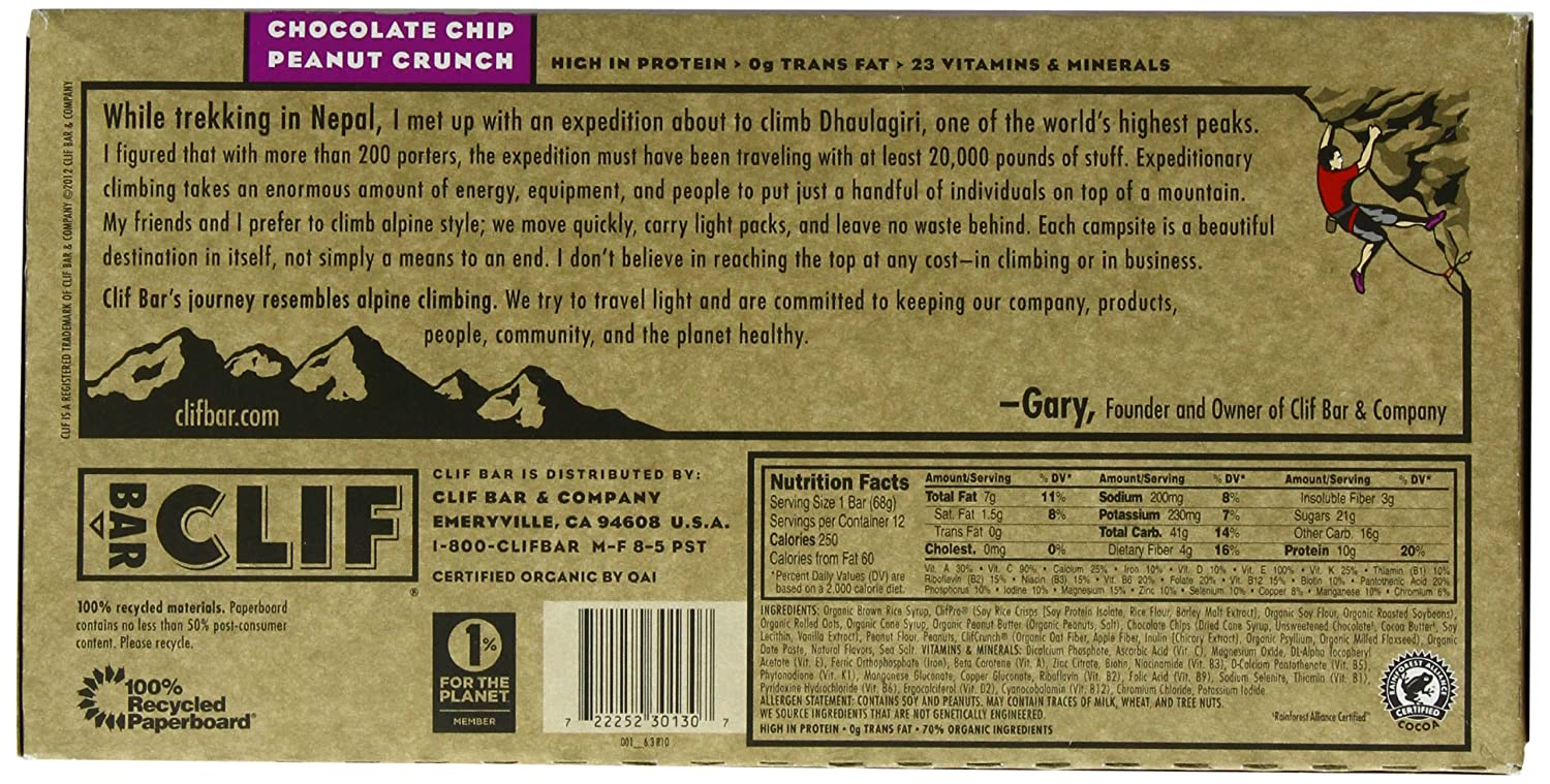 Clif Bar Nutrition Facts Label - Nutrition Ftempo Quaker Granola Bars Nutrition Facts