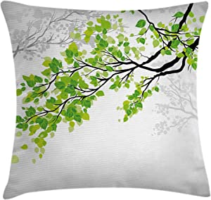 """Ambesonne Nature Throw Pillow Cushion Cover, Twiggy Spring Tree Branch with Refreshing Leaves Summer Peaceful Woodland Graphic, Decorative Square Accent Pillow Case, 24"""" X 24"""", Green Grey"""