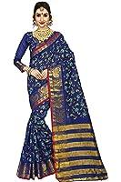 Vatsla Enterprise Women's Cotton Silk Heavy Banarasi Work, Pallu and Border Bridal Saree With Blouse Piece (VATDSNNO1_NEAVYBLUE_COLOUR)