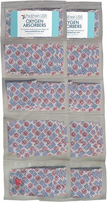 PackFreshUSA: 500cc Oxygen Absorber Compartment Packs - Food Grade - Non-Toxic - Food Preservation - Long-Term Food Storage Guide Included - 100 Count in 10 Compartment Packs