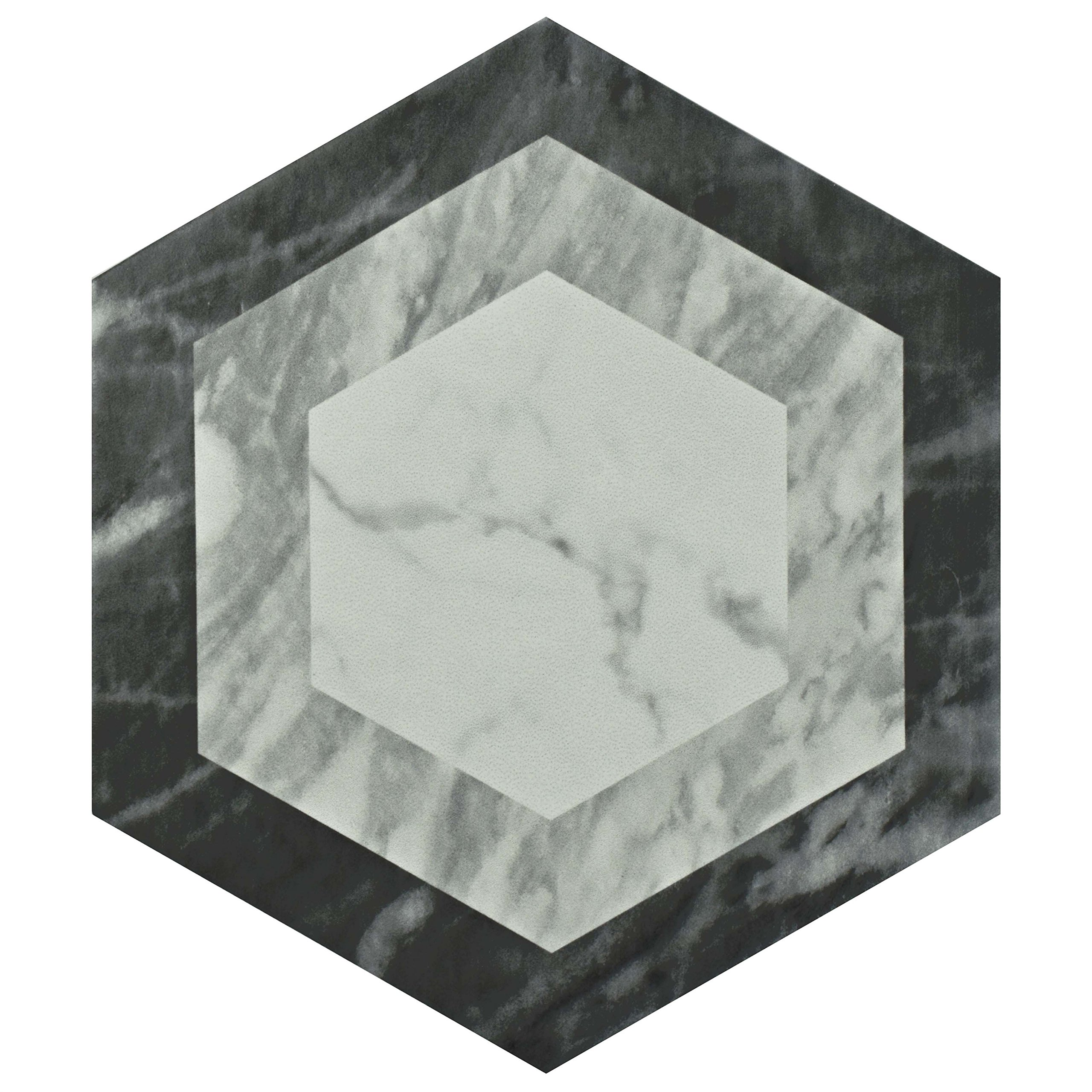 SomerTile FEQ8BXG Murmur Bardiglio Hexagon Porcelain Floor and Wall Tile, 7'' x 8'', Geo