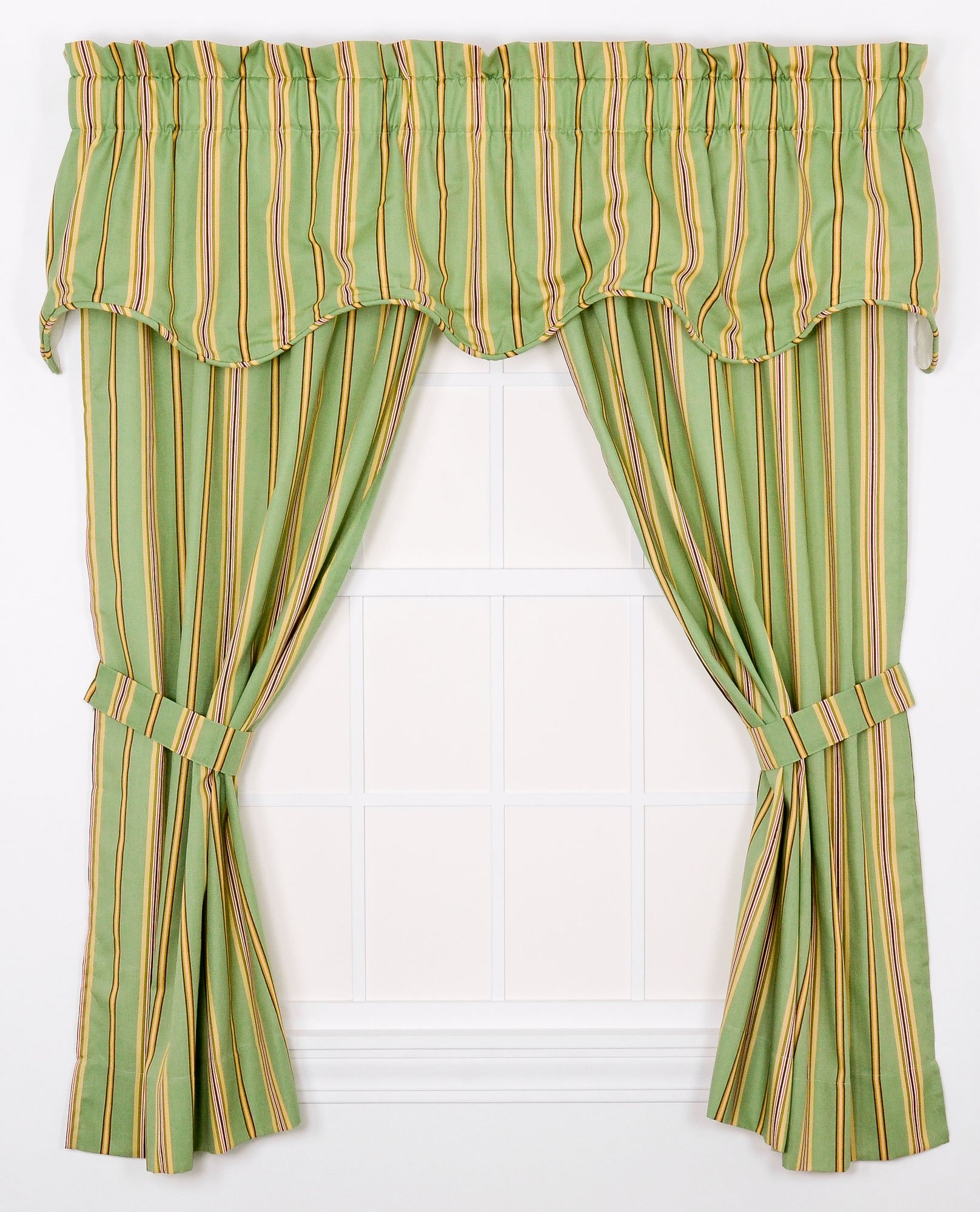 """Ellis Curtain Warwick Medium Scale Stripe 68 by 63-Inch Tailored Panel Pair Curtains with Tiebacks, Green - Multi colored medium scale vertically oriented stripe pattern featuring a range of shades and colors that coordinate easily with a variety of solids, checks, plaids, and florals makes it easy to fit within your home décor Made with 52-percent polyester/48-percent 5-ounce cotton duck fabric creates a smooth draping effect, soft texture and easy maintenance Panel is constructed with a 1.5"""" rod pocket, 2.5"""" header, and 5"""" bottom hem; sold in pairs (2 panels) - living-room-soft-furnishings, living-room, draperies-curtains-shades - 91S2BE%2BaAIL -"""