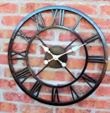 LARGE OUTDOOR GARDEN WALL CLOCK BIG ROMAN NUMERALS GIANT OPEN FACE METAL 58CM
