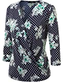 MBJ Womens Long Sleeve Wrap Front Deep V-Neck Hoodie Shirt