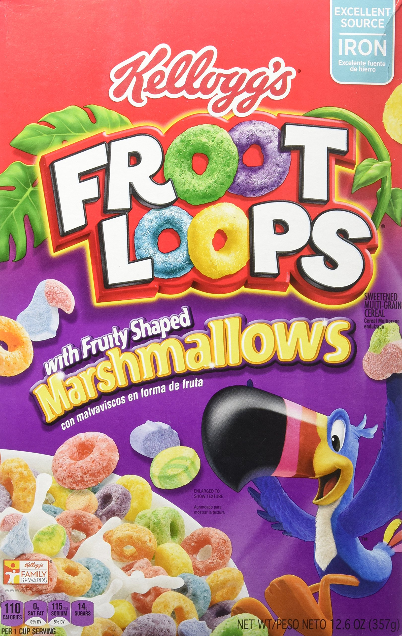 Kellogg's Froot Loops Cereal, Marshmallow, 12.6-ounce Boxes (Pack of 2)