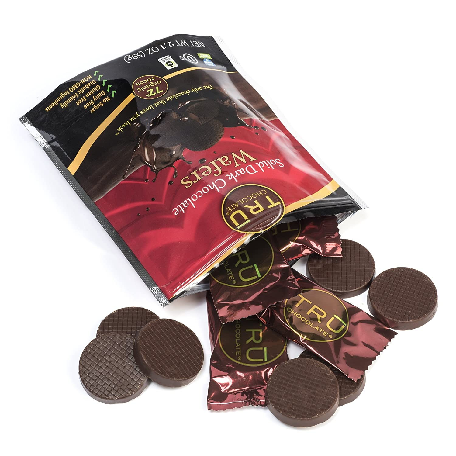 Amazon.com : Organic & All Natural 72% Dark Chocolate Wafers by ...
