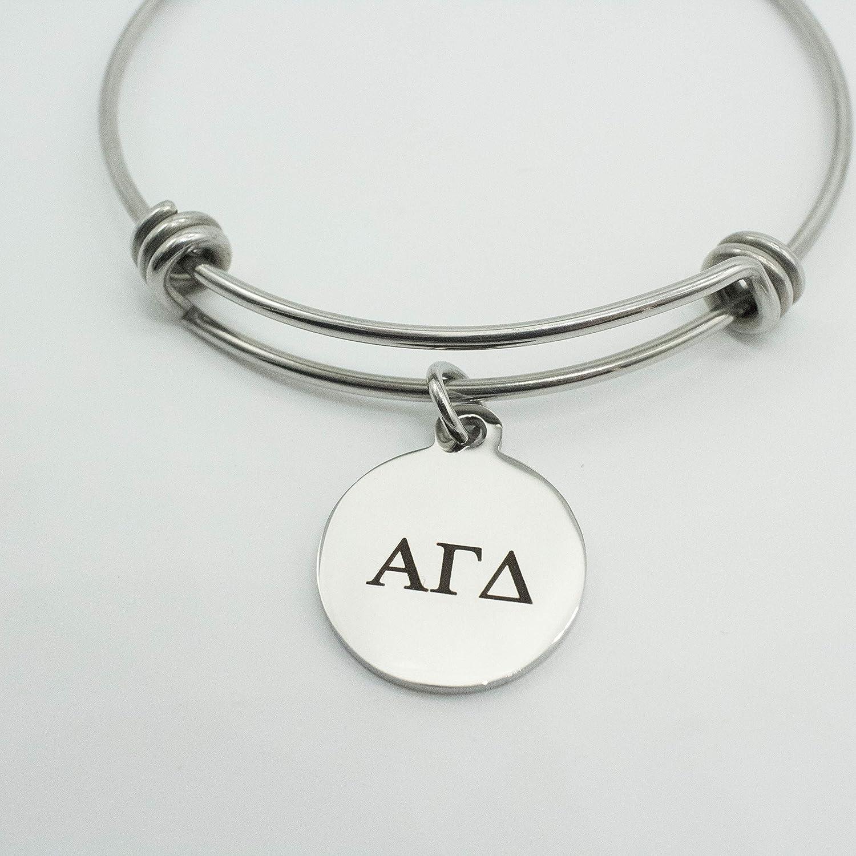 Alpha Gamma Delta Sorority Bracelet Silver Stainless Steel Expandable Bangle Greek Life Bid Night Gift Big Little Sister