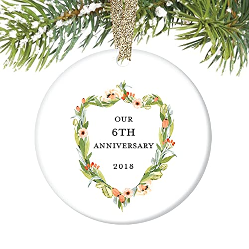 Amazon.com: 6th Anniversary Gifts, Sixth Christmas Ornament 2018, 6 ...
