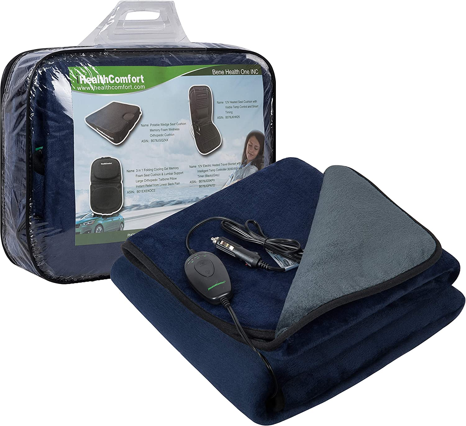 iHealthComfort 12V Electric Heated Travel Blanket with Intelligent Temp Controller 30/60/90 mins Timer Navy and Grey