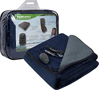 iHealthComfort 12V Electric Heated Travel Blanket with Intelligent Temp Controller 30/60/90 Mins Timer Black and Grey