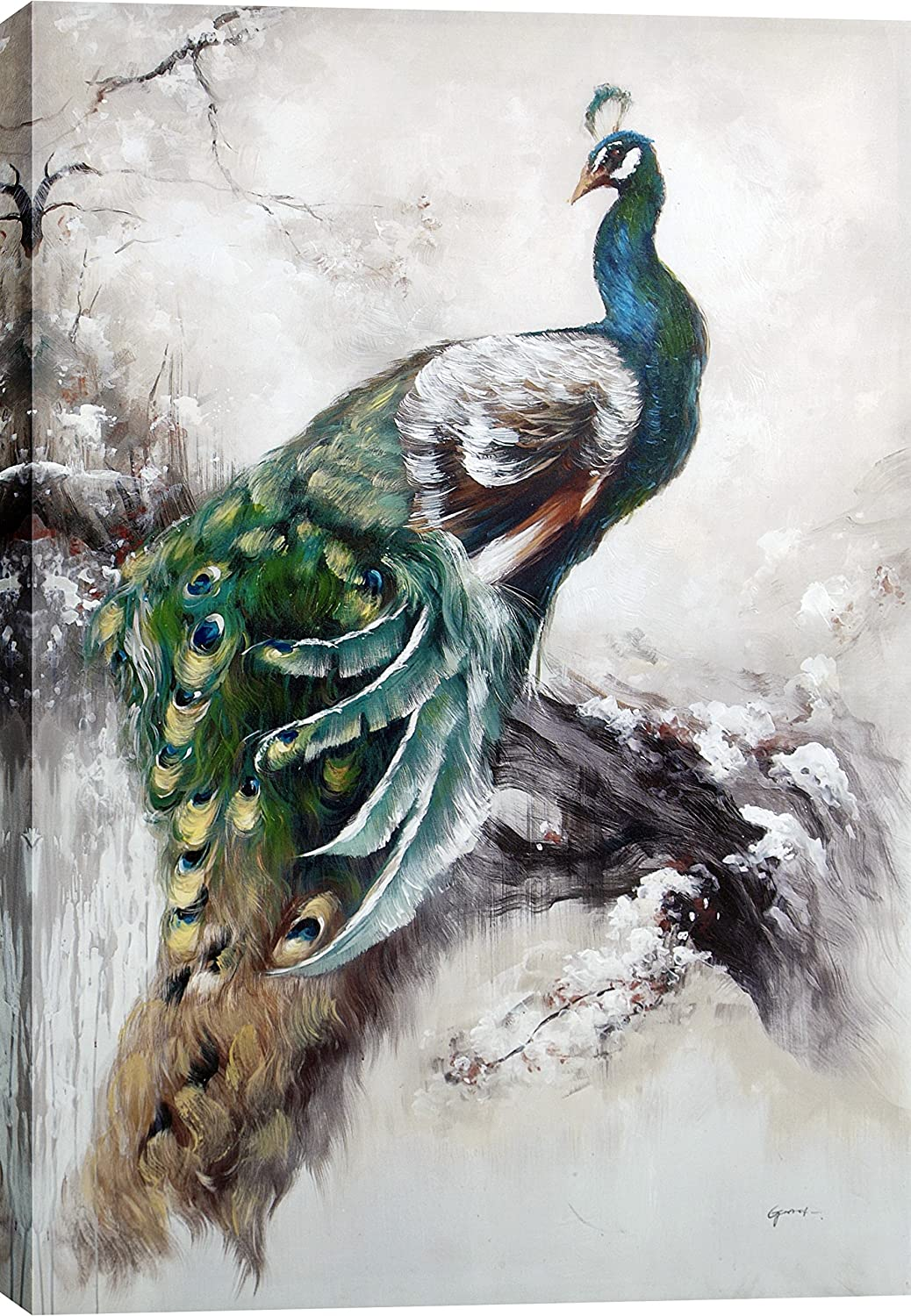 Radiant Feathers Tina O ArtMaison.ca Gallery Wrapped 40-Inch by 59-Inch Hand Painted Acrylic on Canvas