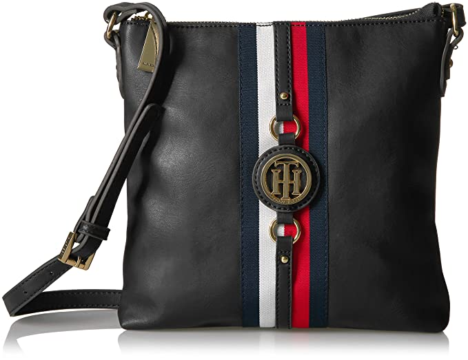 234ce5fb3adc Tommy Hilfiger Crossbody Bag for Women Jaden, Black Polyvinyl Chloride