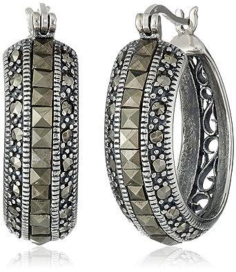 7fbf741b086de Amazon.com: Sterling Silver Marcasite Hoop Earrings: Jewelry