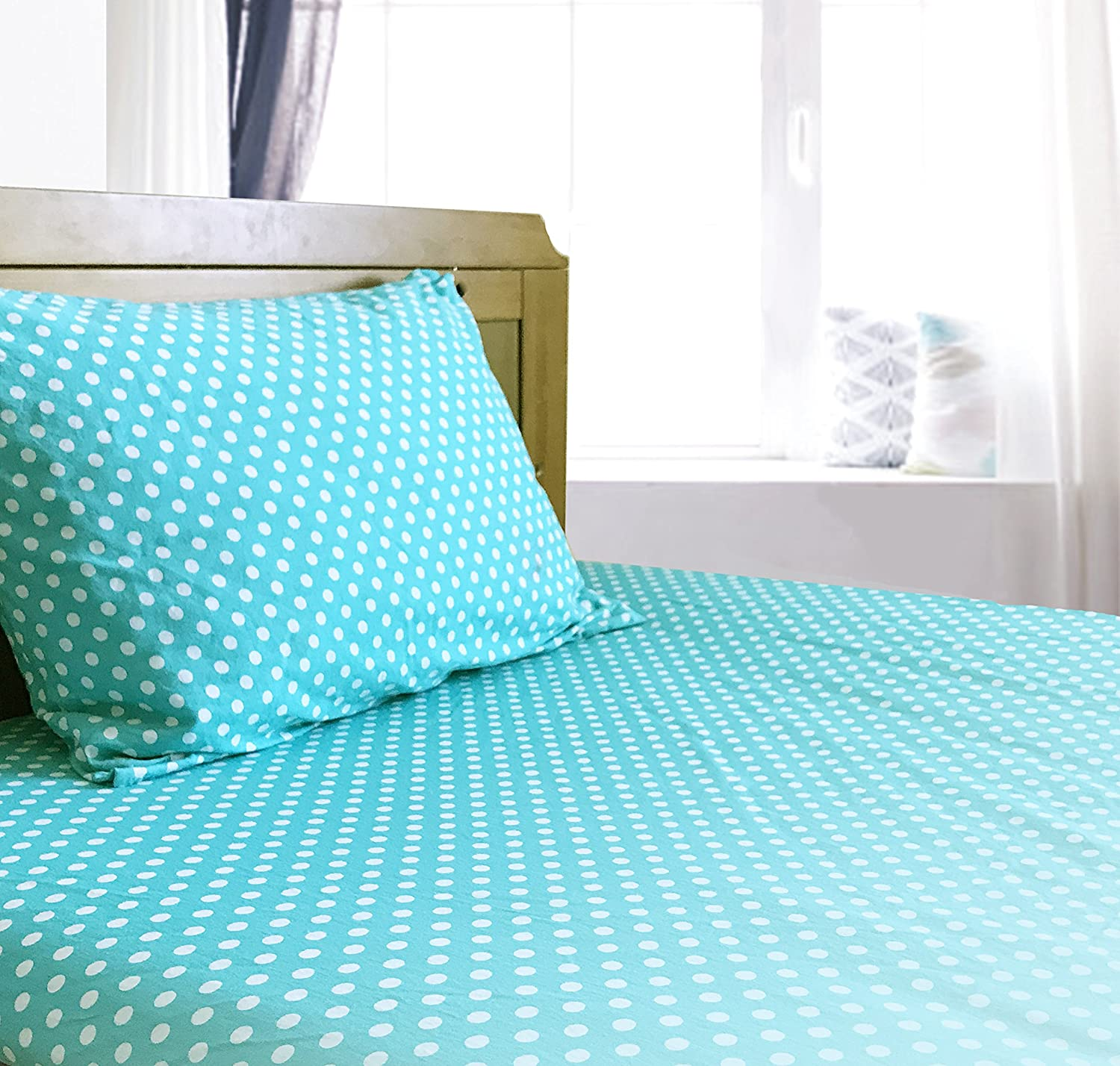 Crib/Toddler Bed Sheet and Pillowcase Set (Turquoise Polka Dot) 100% Premium Cotton by Dreamtown Kids