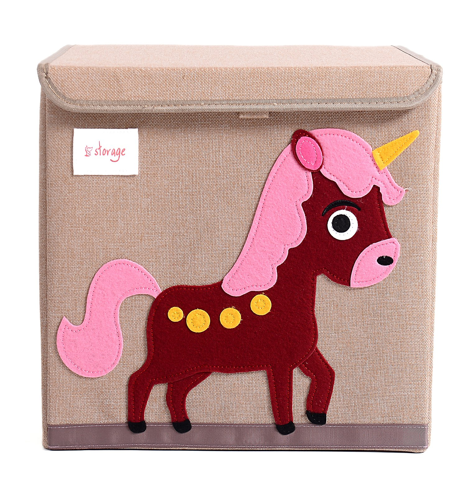 HIYAGON 13''x13''x13''Storage Box/Bin/Cube/Basket/Chest/Organizers with Lids for Bedroom, Nursery, Playroom, Toys, Clothing, Blankets, Books, More(Unicorn)