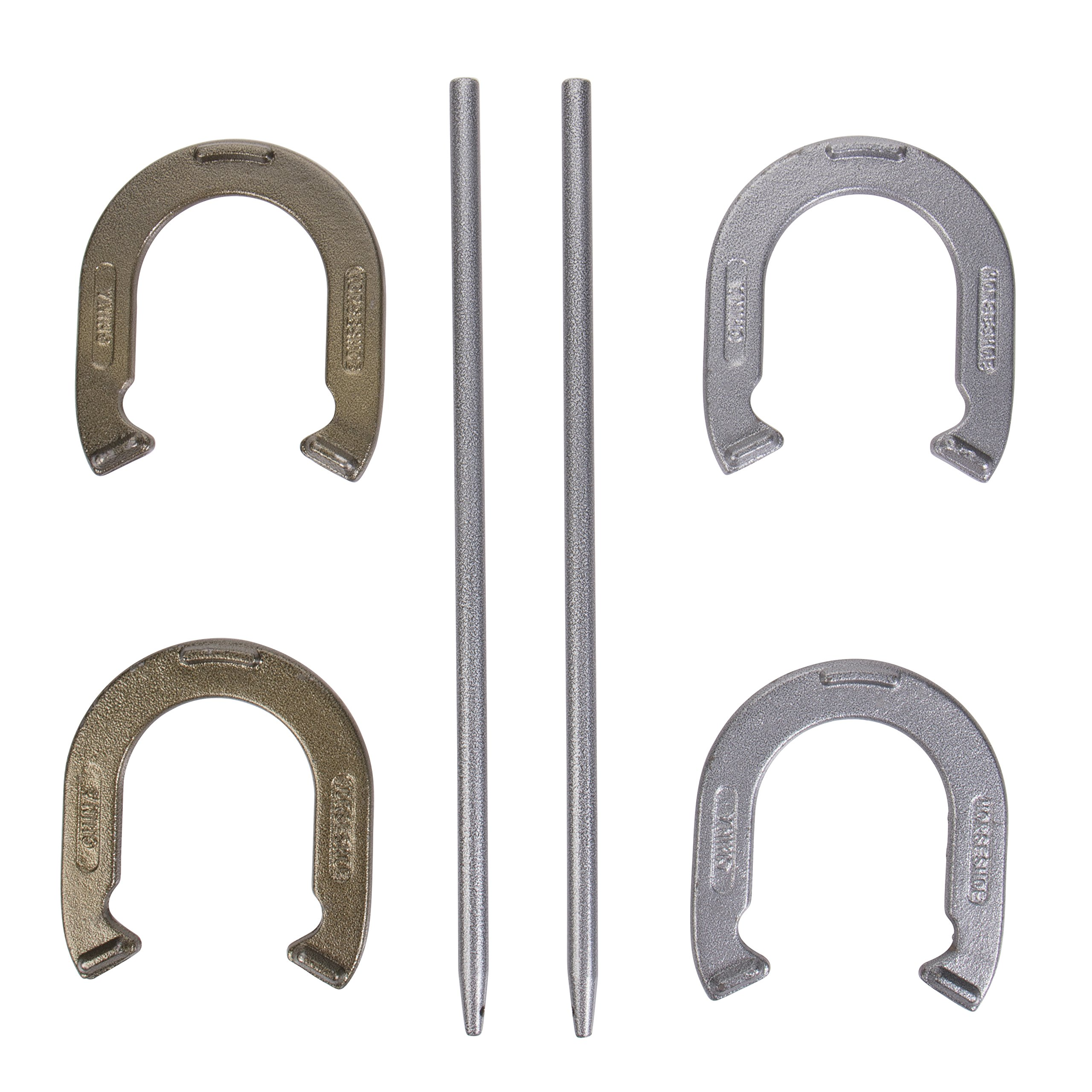 Triumph Hammer-Finished Four Steel Backyard Horseshoe Set with Two Stakes by Triumph Sports