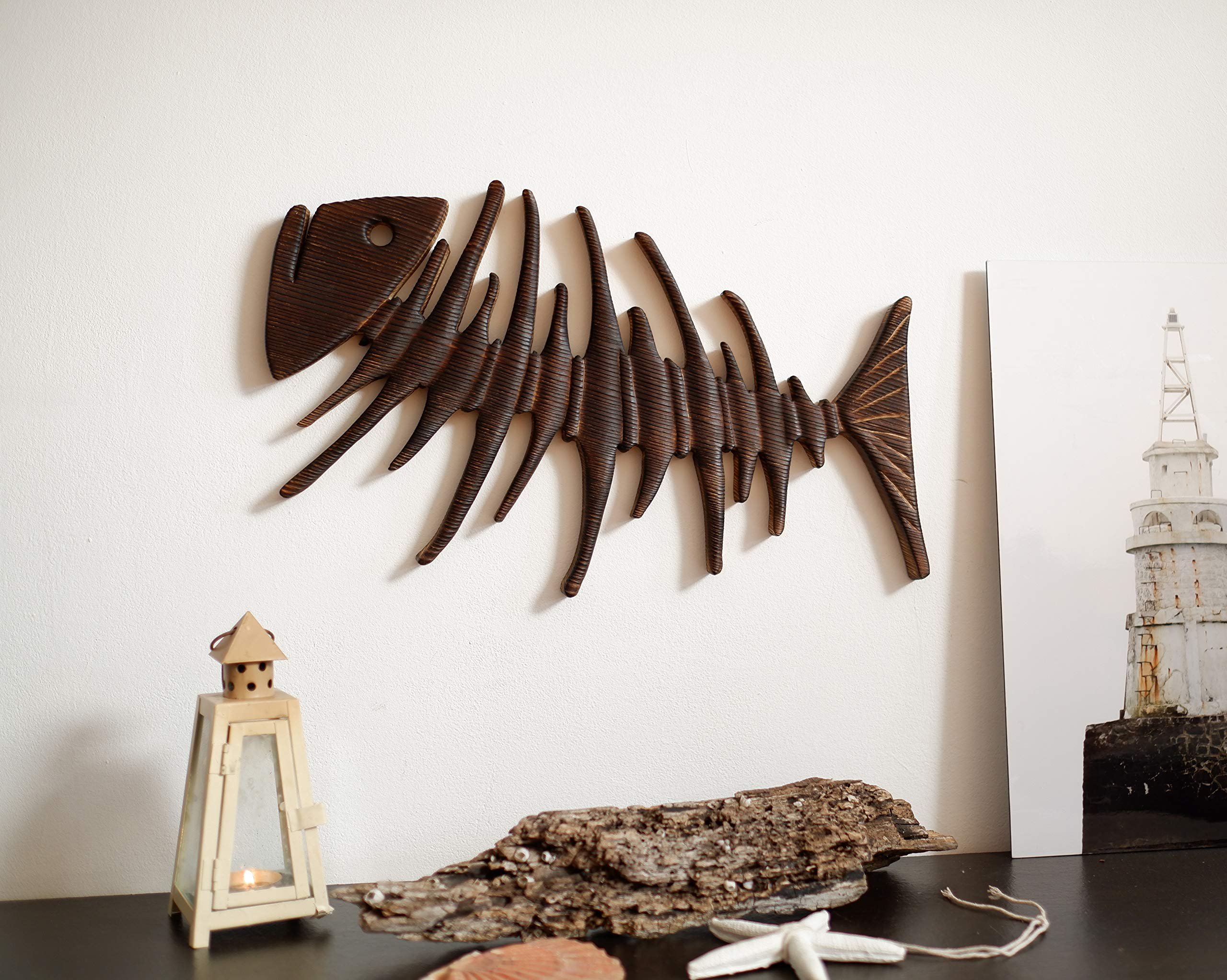 Wood Fish Wall Art, Wall Fish Decor, Fish Wall Hanging, Wood Fish Sculpture