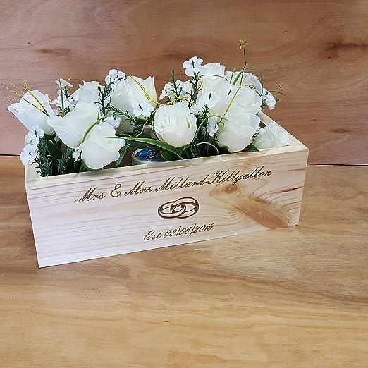 MR&MRS - Caja de madera para centro de mesa de boda, diseño ...