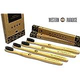 Eledent Luxe brosses à dents en bambou avec poils de charbon de bois par Western Paradise–Lot de 4–100% naturel en bambou biodégradable