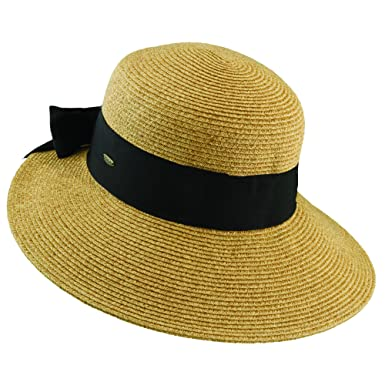 5b75761d Scala Collezione NEW PAPER BRAID DIMENSIONAL BRIM GROSGRAIN BOW SUN HAT UPF  50+ (TEA) at Amazon Women's Clothing store: