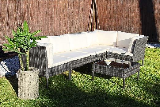 Kiefergarden Kansas Sofa esquinero Modular de jardín en ratán sintético, Gris: Amazon.es: Jardín