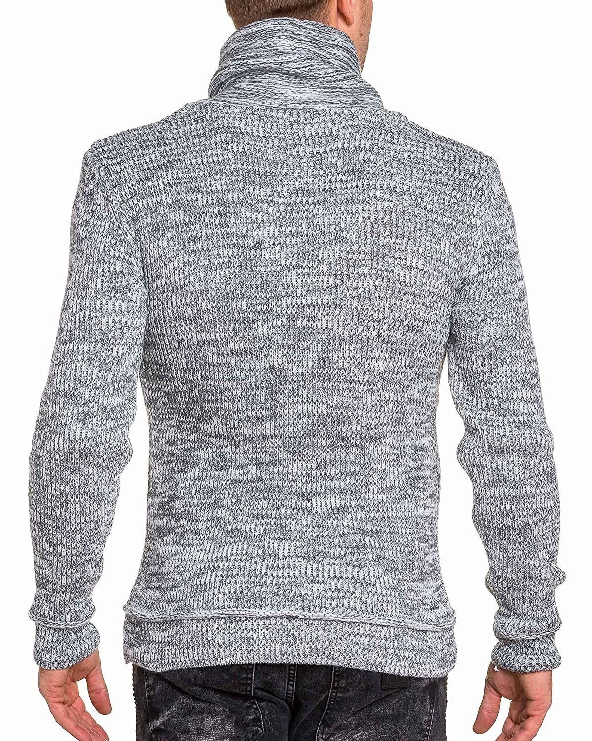 BLZ jeans - ribbed white man zipped sweater shawl collar