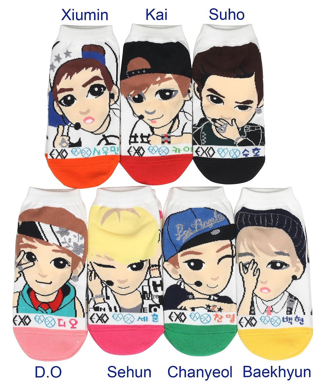 Women Exo Kpop Star Cartoon Socks 7 Pairs At Amazon Womens Clothing Store
