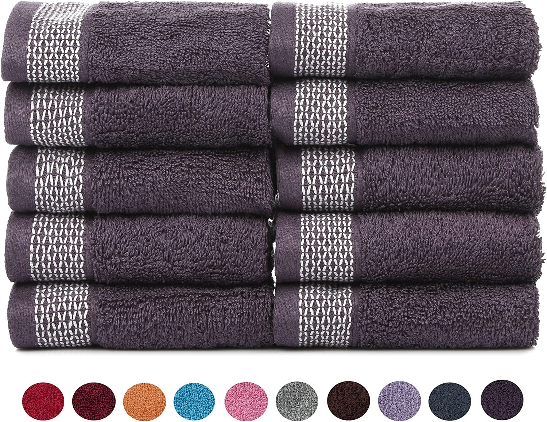 CASA COPENHAGEN Solitaire Cotton 17.70 oz//yd/² Thick 6 Pack Hand Towel Set Italian Plum