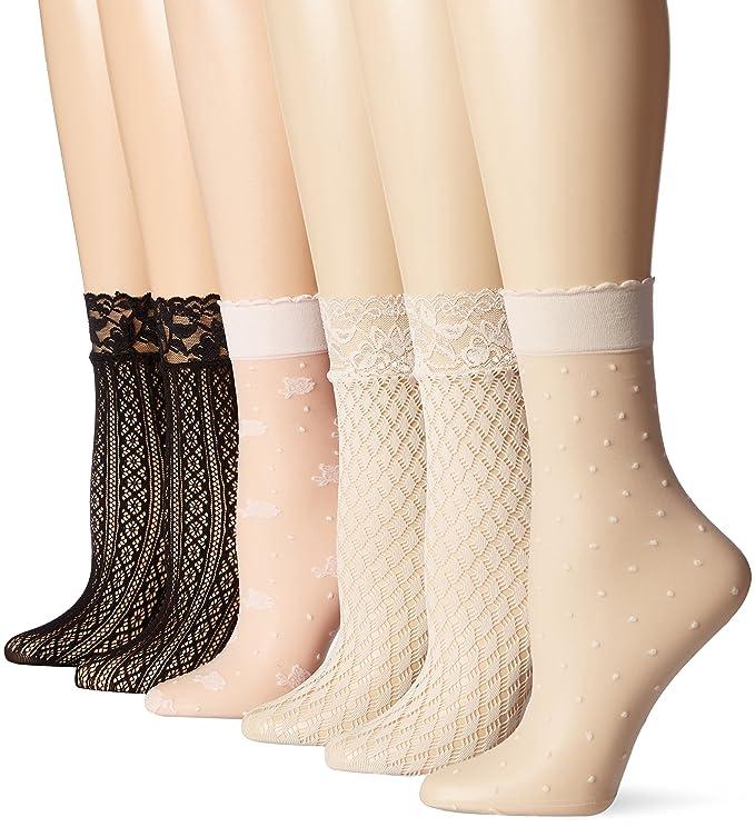 1950s Socks- Women's Bobby Socks PEDS Womens Trouser Socks 6 Pairs $15.00 AT vintagedancer.com