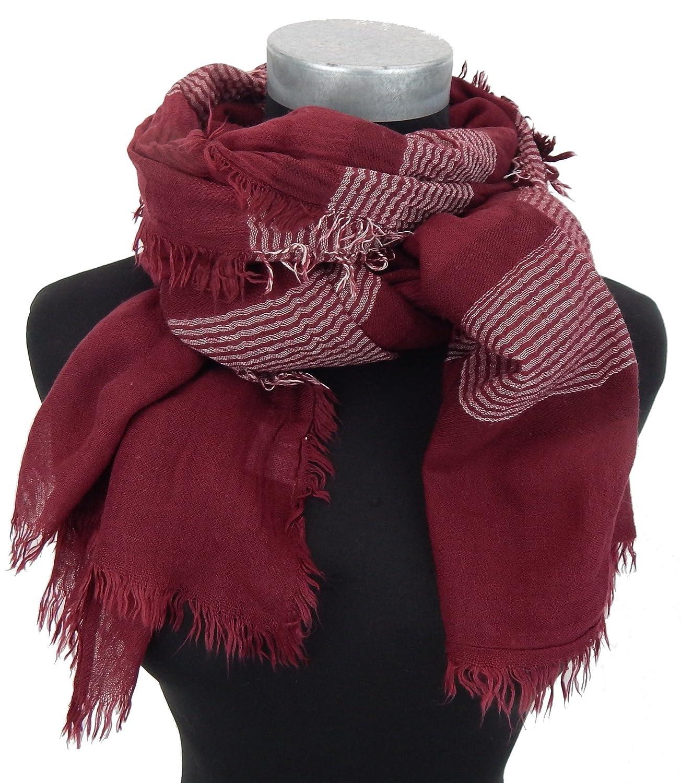 Damenschal rot weiß Ella Jonte leichter Schal Fransen Baumwolle Viskose Unisex