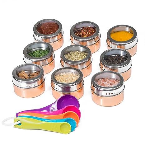 Attractive Stainless Steel Magnetic Spice Jars U2013 Bonus Measuring Spoon Set U2013 Airtight  Kitchen Storage Containers U2013