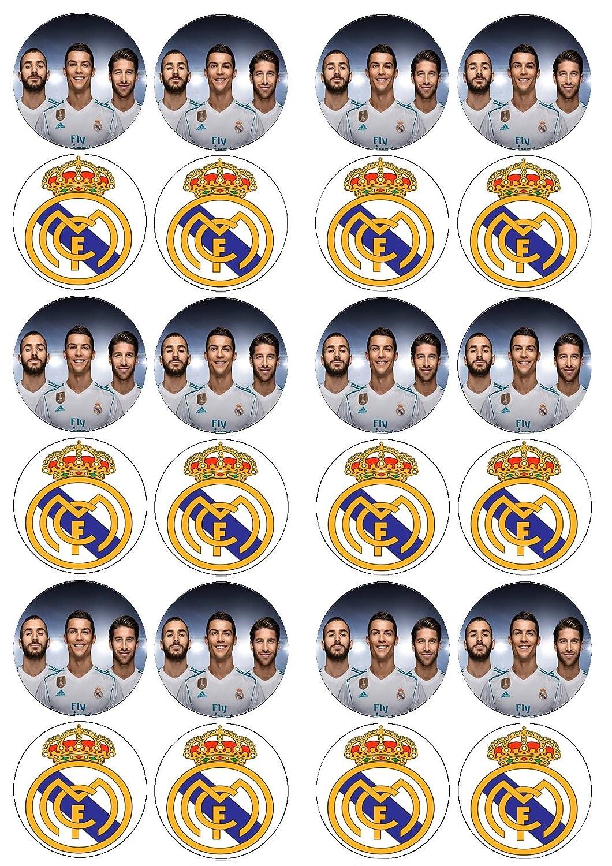 24 obleas comestibles del Real Madrid, glaseado para decoración de tarta de cumpleaños