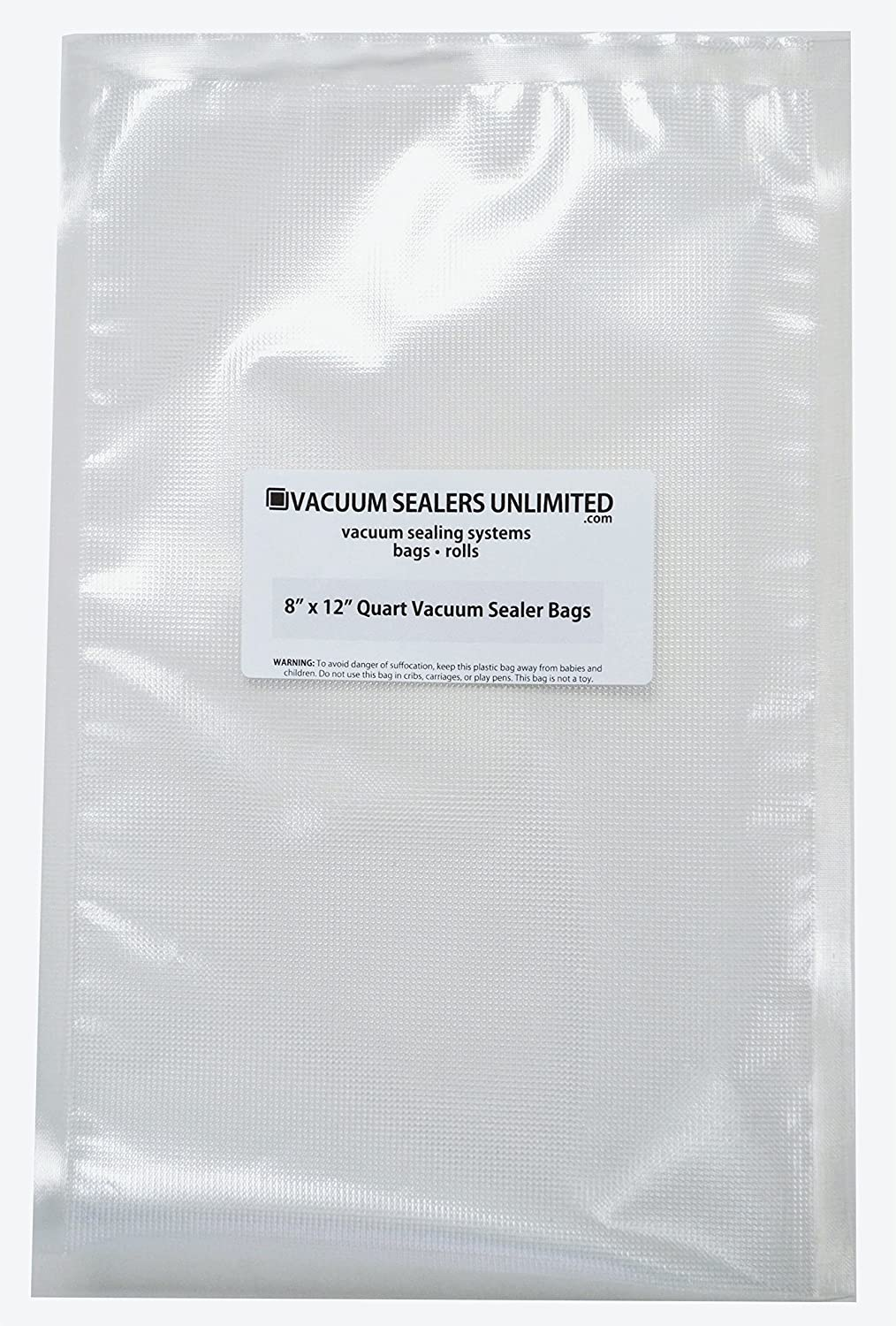 "Vacuum Sealers Unlimited 100-8"" x 12"" Quart Bags - Thicker, Heavy-Duty Commercial Quality Textured Vacuum Sealer Bags For Foodsaver etc- BPA Free & FDA Approved"