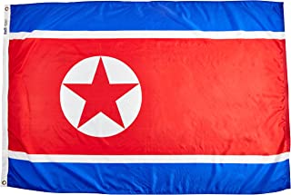 product image for Annin Flagmakers Model 221496 North Korea Flag Nylon SolarGuard NYL-Glo, 4x6 ft, 100% Made in USA to Official United Nations Design Specifications