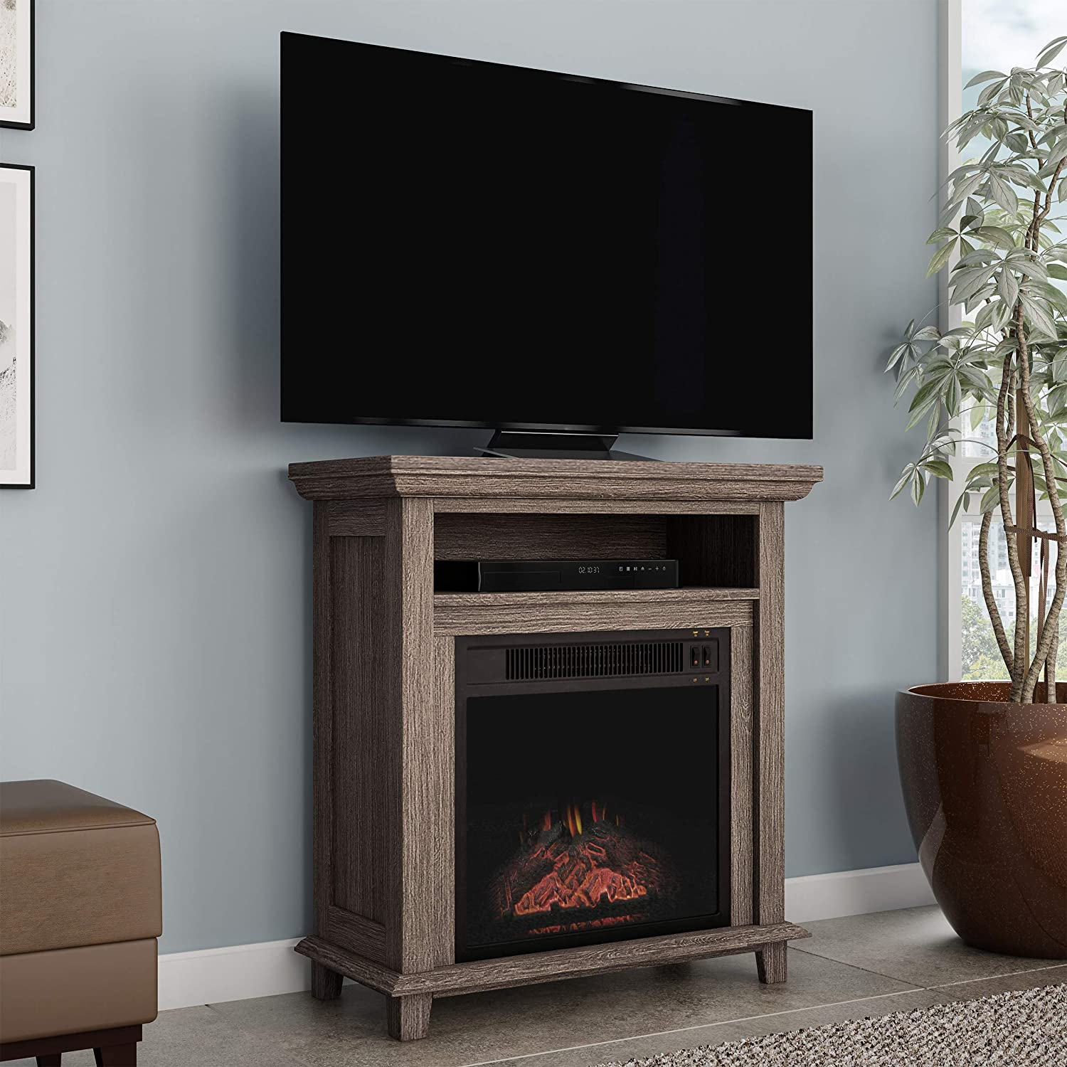 """Northwest 80-FPWF-4 Electric Fireplace TV Stand– 29"""" Freestanding Console with Shelf, Faux Logs and LED Flames, Space Heater Entertainment Center (Gray)"""