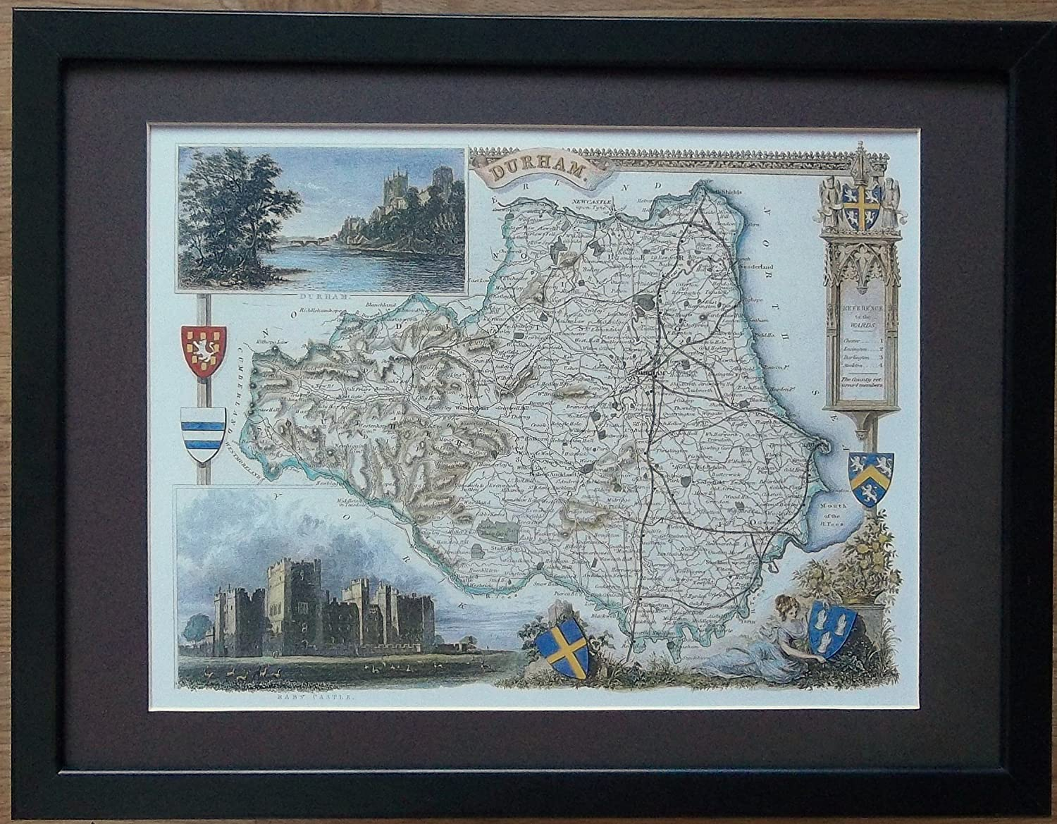 Framed and Mounted Old County Map - 12'' x 16'' frame, Old Durham Map framed print