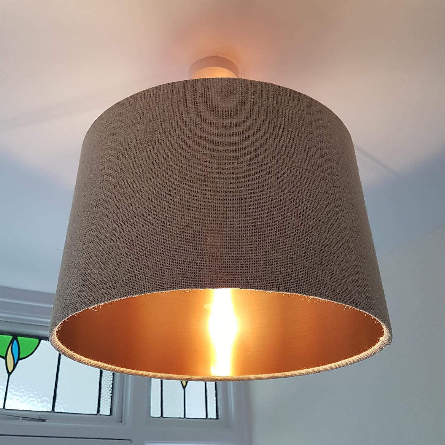 Natural Cream Hessian Lampshade with Metallic Copper Lining