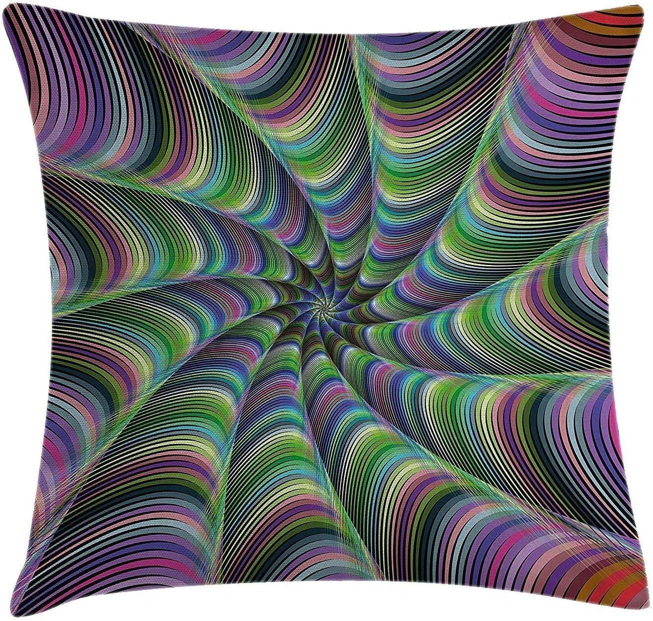 Jxrodekz Housse de Coussin Coussins psych/éd/éliques Se Fondant dans la Forme dune Fleur Infinity Spinning Focus DesignGreen Purple 45cm