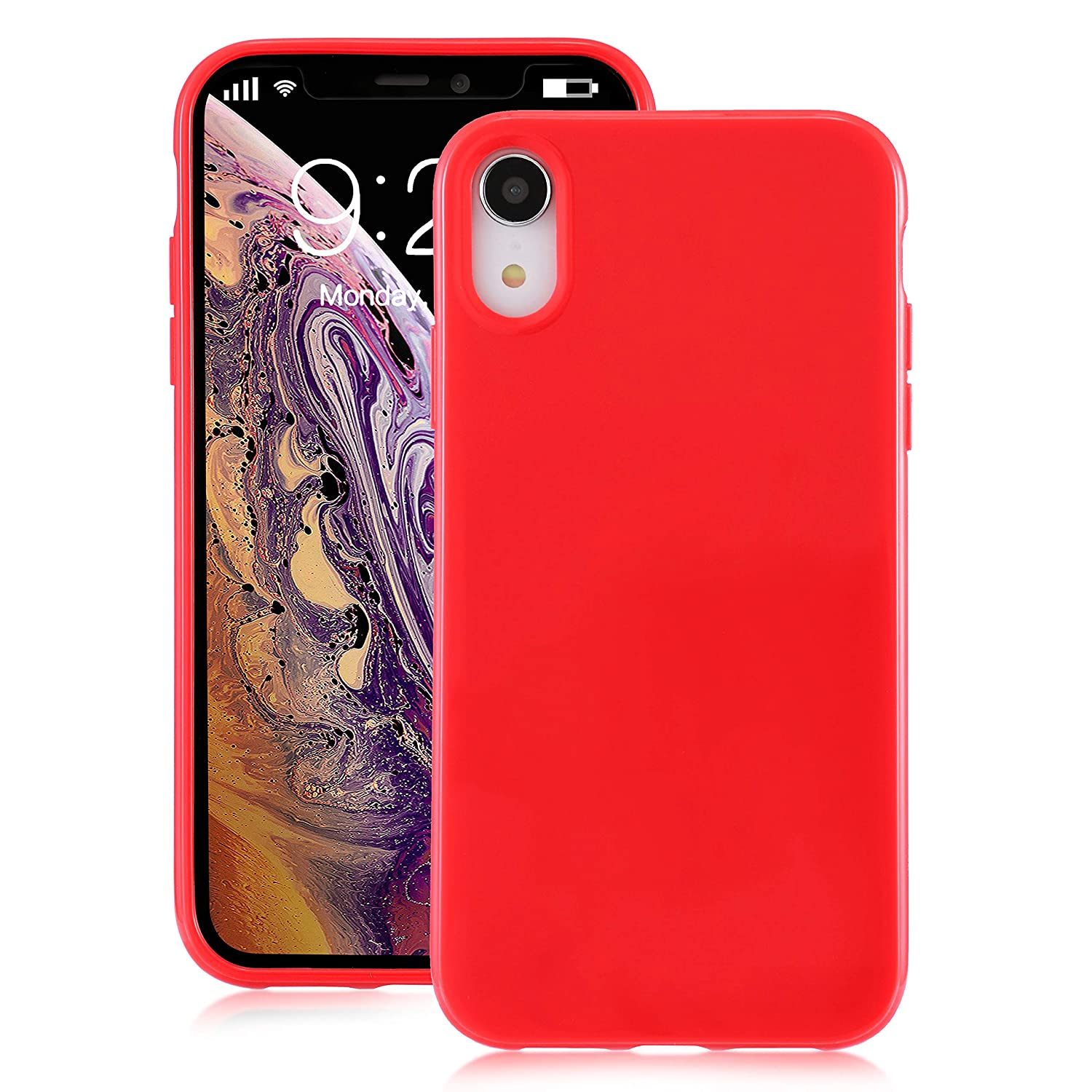 for iPhone XR Red Case, technext020 Shockproof Ultra Slim Fit Silicone  iPhone 10R Cover TPU Soft Gel Rubber Cover Shock Resistance Protective Back