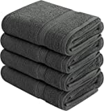 Utopia Towels Cotton Large Hand Towels (4 Pack, Dark Grey) - Multipurpose Bathroom Towel set for Hand, Face, Gym and Spa