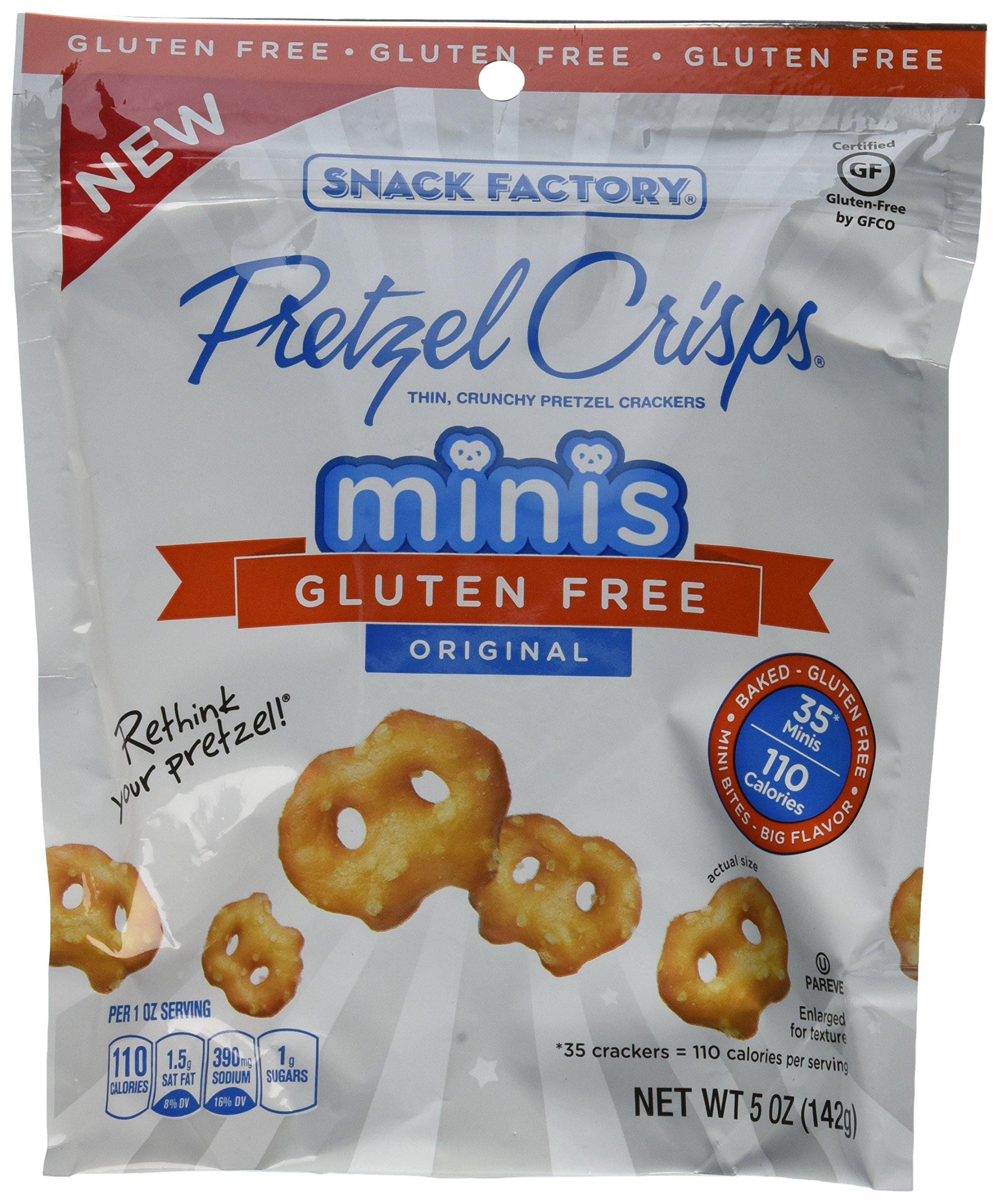 Pretzel Crisps Gluten Free Minis Case of 12 - 5 oz Bags (Original) by Snack Factory