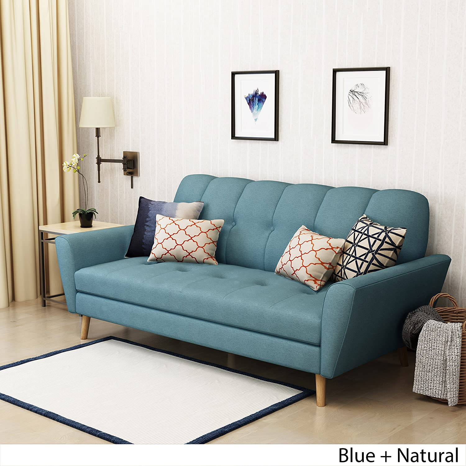 Amazon.com: Angelina Mid Century Blue Fabric Sofa: Kitchen & Dining