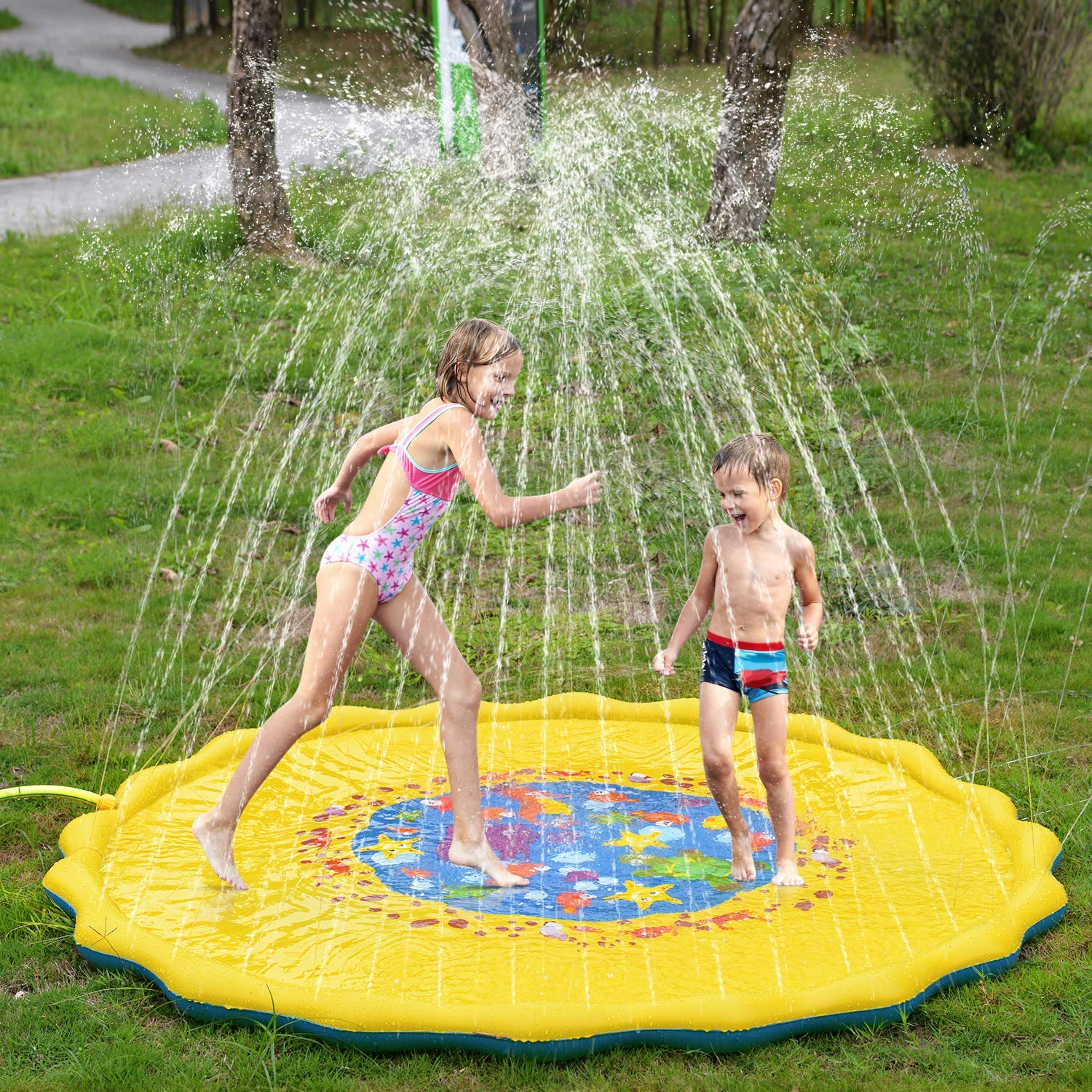 Inflatable Outdoor Sprinkler Pad Summer Water Pad Toys Swimming Party Gift for Kids Children Infants Toddlers Boys Girls Yellow Yealsha Sprinkle and Splash Play Mat 39