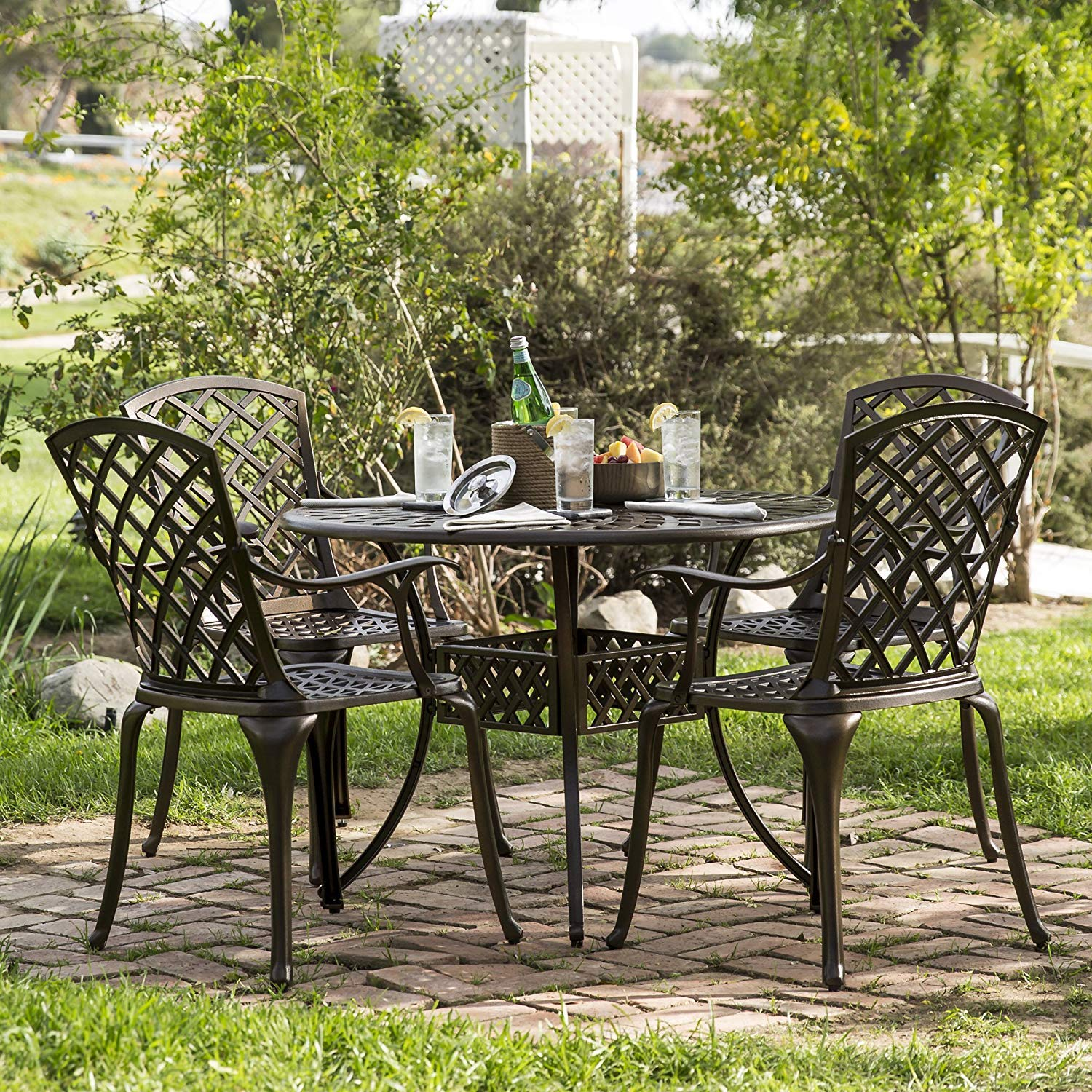 Kinger Home 5-Piece Cast Aluminum Patio Dining Set w 4 Chairs, Umbrella Hole, Lattice Weave Design – Brown