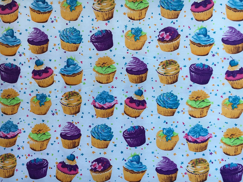 Polycotton Fabric Cupcakes 100/% Cotton